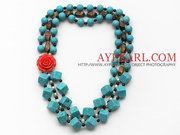 Square Shape Turquoise and Garnet Necklace Is Sold At $20.69